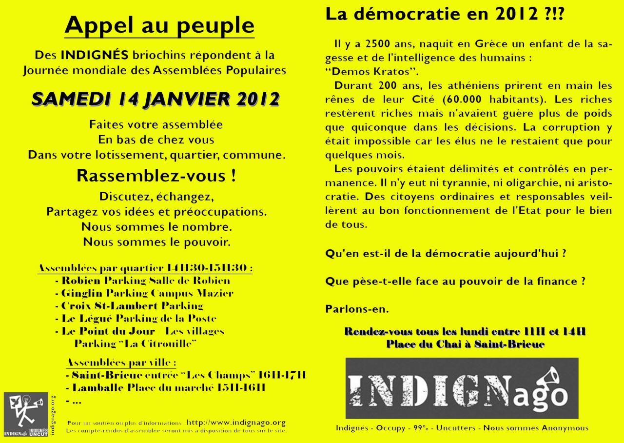 Journée des indignés 14 janvier 2012
