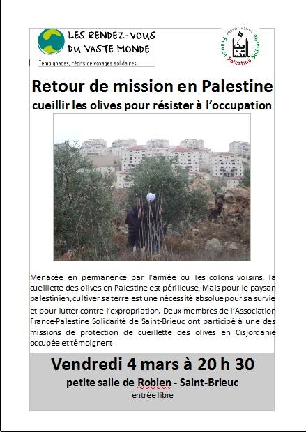 Retour de mission en palestine